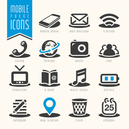 adress book: Mobile phone icon set Illustration