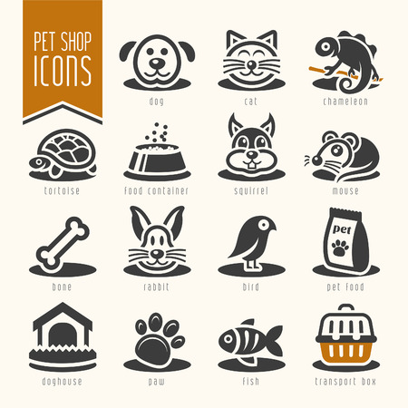 food packaging: pet shop icon set