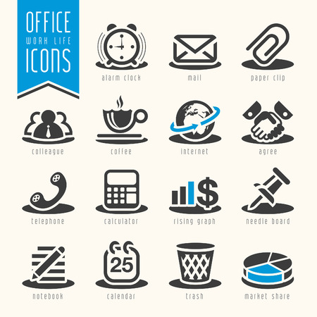 work office: Oficina, conjunto de iconos vida laboral Vectores