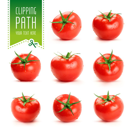 tomatoes: tomato set with clipping path