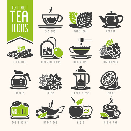 mint leaves: Tea icon set Illustration
