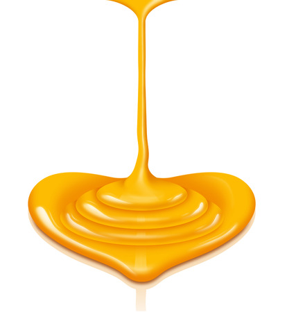 Honey heart-shaped flow with clipping path