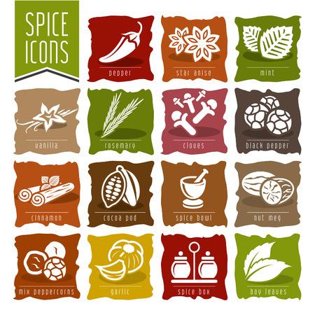 nutmeg: Spice icon set - 2 Illustration