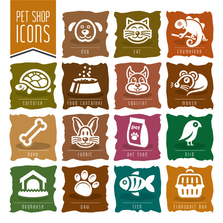 Huisdier, dierenarts, pet shop icon set - 2