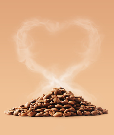 large bean: Coffee love with heart shape