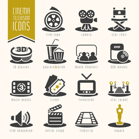 Movie and cinema industry icon set