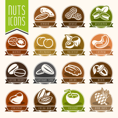 Nuts icon set Illustration