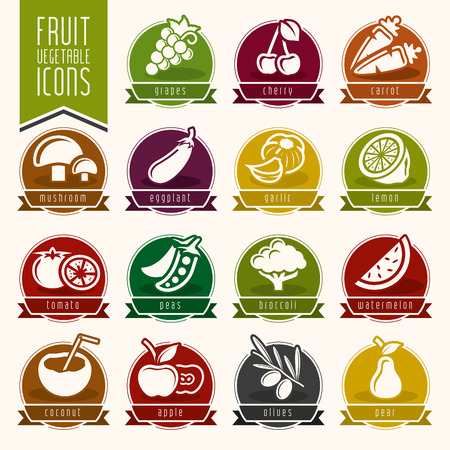 Fruit and Vegetable Icon Set