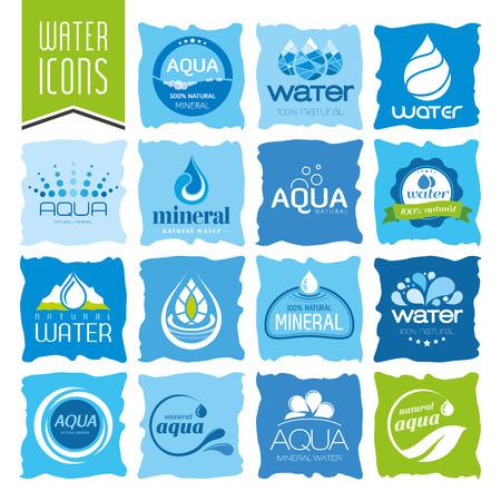 aqua icon: Water icon set Illustration