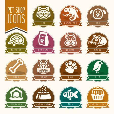 Mascotas, veterinario, tienda de animales conjunto de iconos Ilustración de vector
