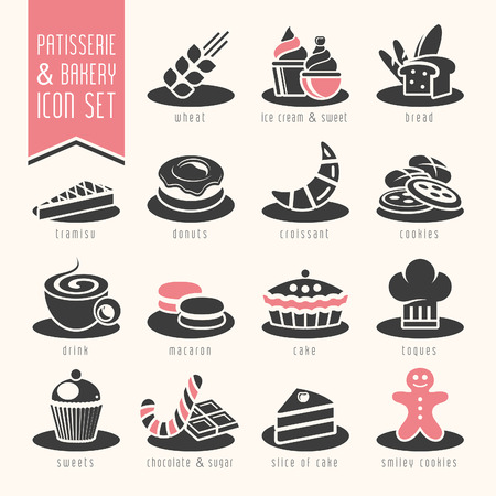apple isolated: Bakery, patisserie icon set
