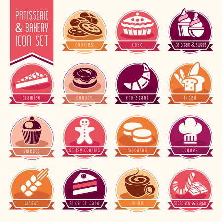 patisserie: Bakery, patisserie icon set