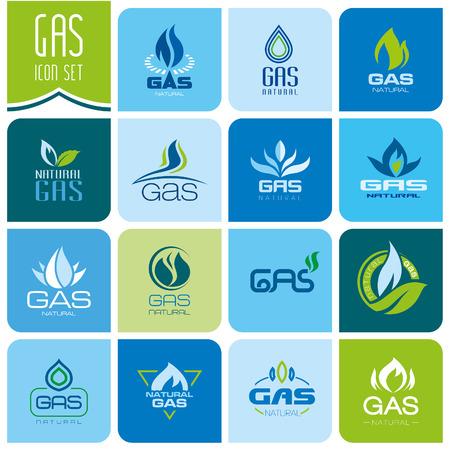 gas flame: Gas industry symbols Illustration