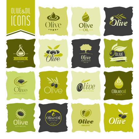 foglie ulivo: Olive icon Olio set