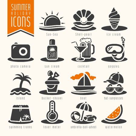 pearl shell: Summer icon set