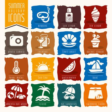 sun block: Summer icon set