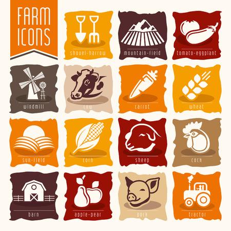 cornfield: Farm and butcher shop icon set Illustration