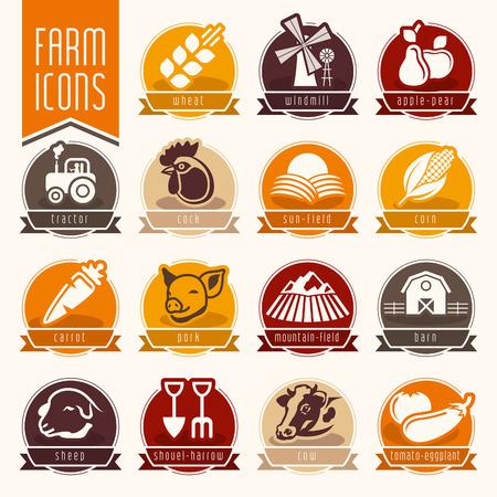 harrow: Farm and butcher shop icon set Illustration