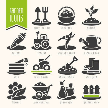 harrow: Garden  farm icon set Illustration