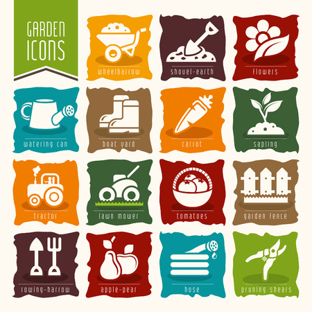 gardening hose: Garden  farm icon set Illustration