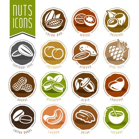 Nuts icon set Vettoriali