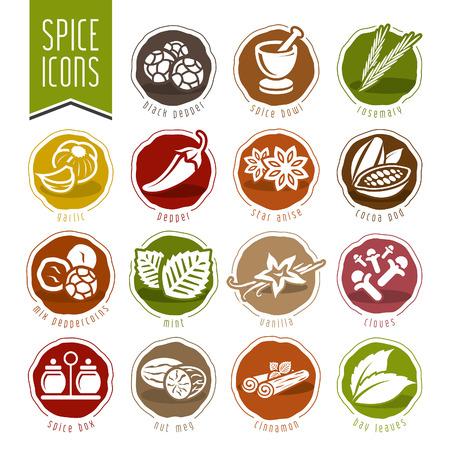 epices: Spice, icône, ensemble Illustration
