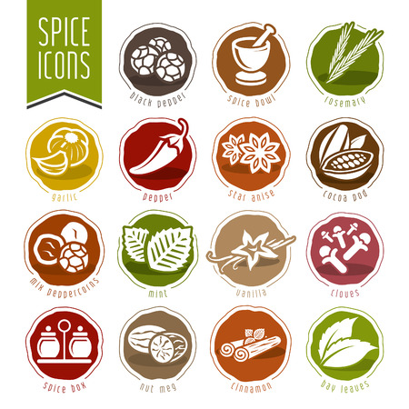 indian mustard: Spice icon set Illustration