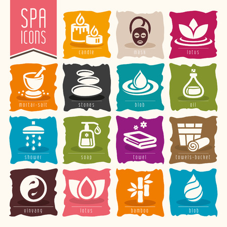 spa stones: Spa icon set