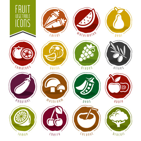 tropical fruits: Fruit and Vegetable Icon Set