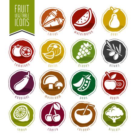 Frutas y verduras Icon Set Ilustración de vector