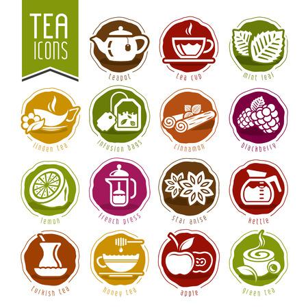 apple cinnamon: Tea icon set Illustration