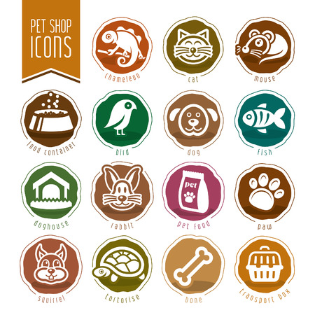pet store: Pet, vet, pet shop icon set