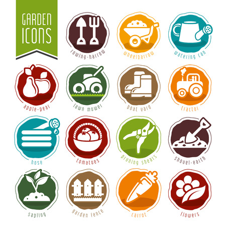 Garden  farm icon set photo
