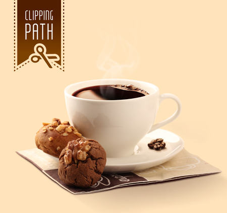 chocolate biscuit: Walnut and hazelnut cookies with coffee. Clipping path.