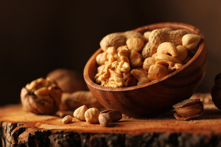 Nut mix on wooden