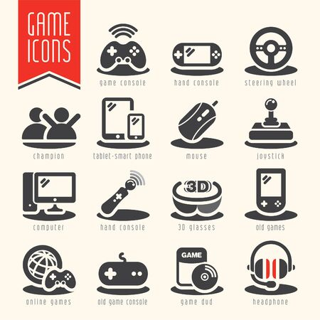 tecnology: Game icon set.