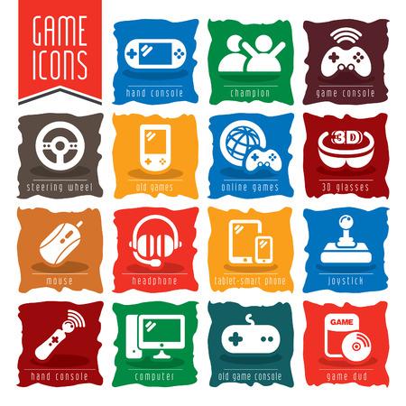 portable console: Game icon set.