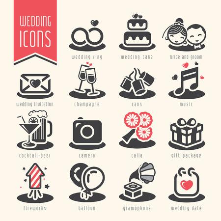 suprise: Wedding icon set. Illustration