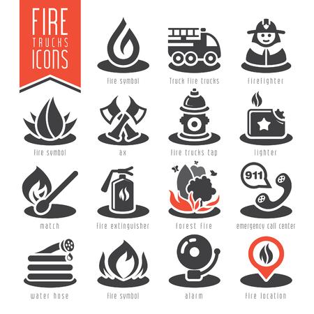 smoke alarm: Firefighter icon set Illustration