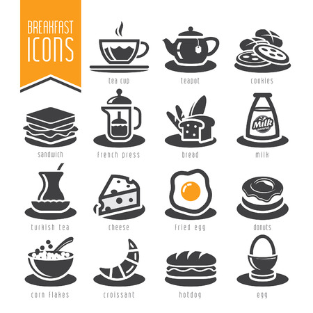 Breakfast icon set Ilustracja
