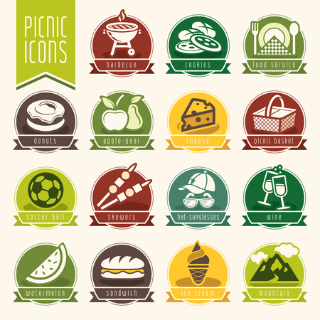 game meat: Picnic icon set