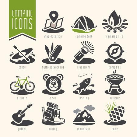 campamento: Conjunto de iconos de campamento de verano