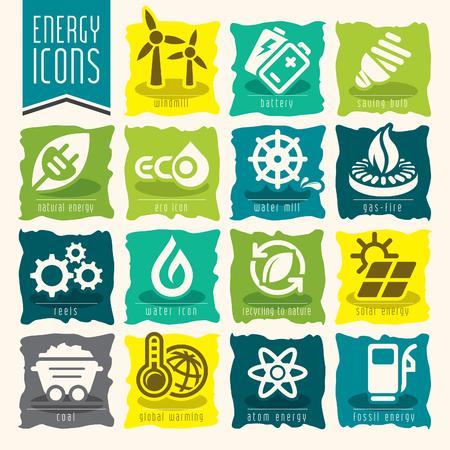 fire plug: Energy icon set. Illustration