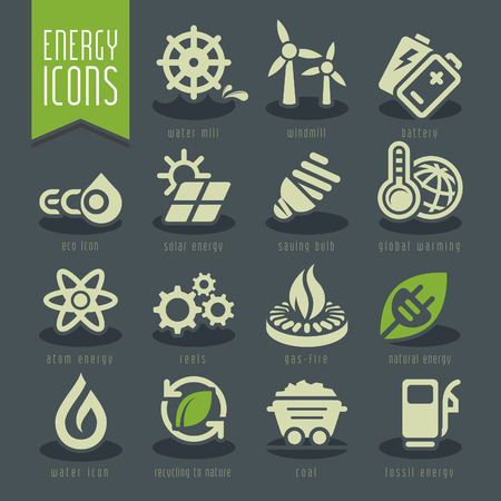 water stream: Energy icon set. Illustration