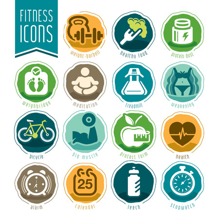 Fitness and wellness icon set