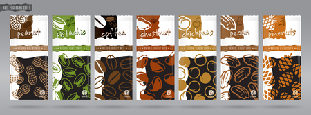 Nuts packaging set vector illustration Illustration
