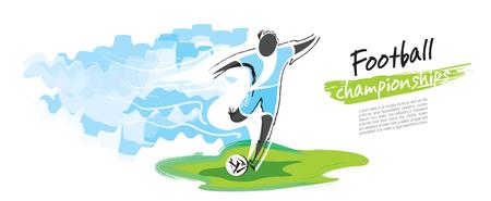 Football championship vector. Artistic figurative soccer character.