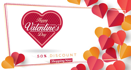 Valentines Day Discount Card and Vector Web Banner