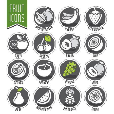 Ensemble d'icônes de fruits design prêt
