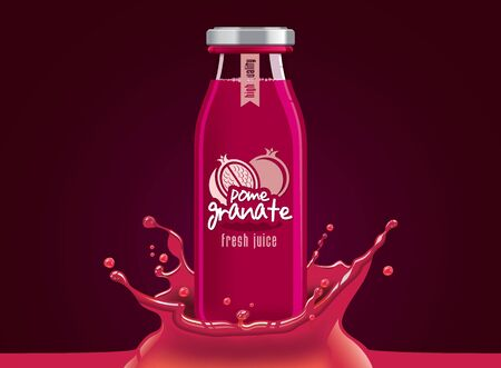 Vector pomegranate juice, fruit glass bottle with drop splash Illustration